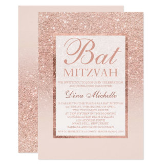 Carte Bat mitzvah chic élégant de scintillement rose