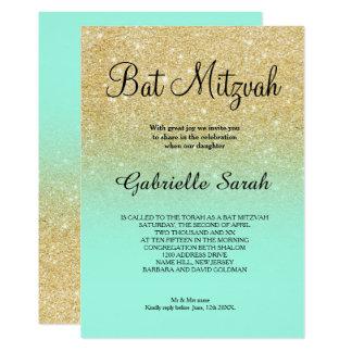 Carte Bat mitzvah d'ombre de turquoise de parties