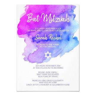 Carte BAT MITZVAH pourpre d'étoile bleue d'aquarelle