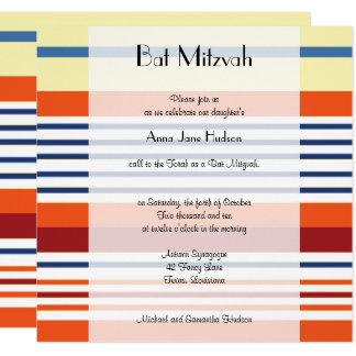 Carte Bat mitzvah - rayures, lignes - orange bleue jaune