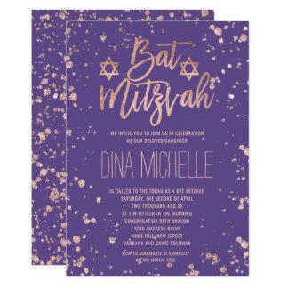 Carte Bat mitzvah rose de pourpre de confettis d'or de