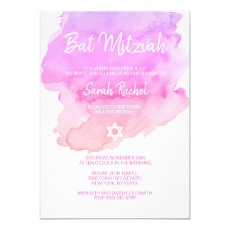 Carte BAT MITZVAH rose pourpre d'étoile de pêche