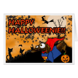 Carte Batdog et Superdog de Halloween de teckel