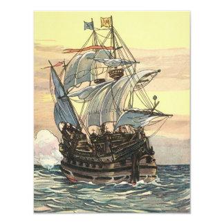 Carte Bateau de pirate vintage, galion à l'invitation