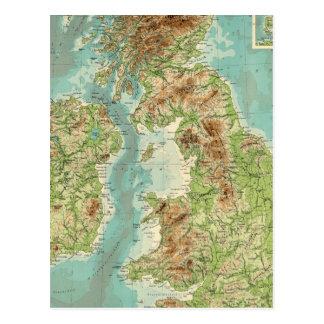 Carte bathyorographical d'îles britanniques carte postale