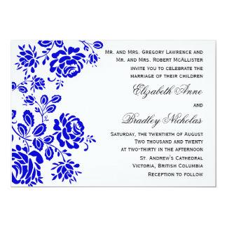 Carte Beau floral dans le mariage de bleu royal