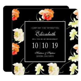 Carte Beau floral noir - demoiselle d'honneur