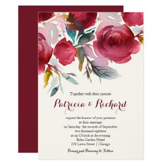 Carte Beau mariage floral de Bourgogne Marsala