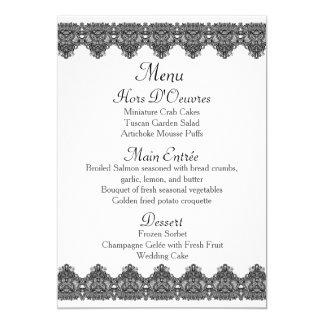 Carte Beau menu noir de mariage de dentelle et de