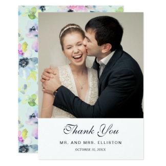 Carte Beau Merci floral en pastel de l'aquarelle  