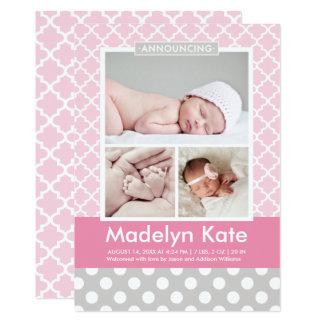 Carte Bébé chic de motif des annonces   de naissance de