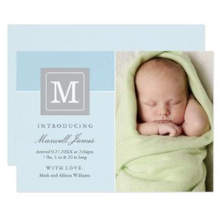 Carte Bébé de bloc de lettre des annonces | de naissance