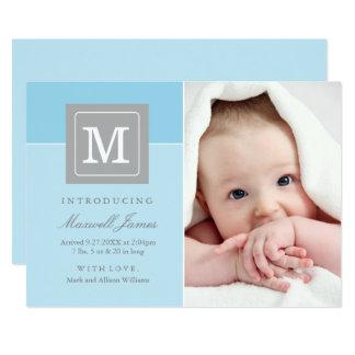 Carte Bébé de bloc de lettre des annonces   de naissance
