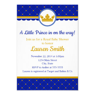 Carte Bébé d'invitation de prince baby shower royal