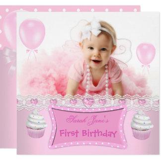 Carte Bébé rose 2 de petits gâteaux de première fille