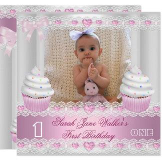 Carte Bébé rose blanc 2 de petit gâteau de première