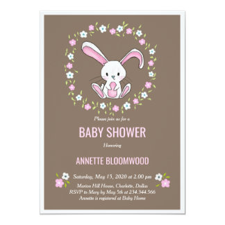 Carte Beige floral de baby shower de lapin de rose