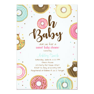 Carte Beignet mixte de douche d'invitation de baby