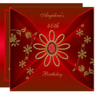 Carte Bijou élégant de rouge riche d'anniversaire de