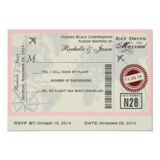 Carte Billet d'avion épousant RSVP