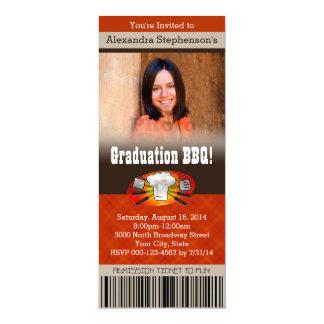 Carte Billet de fête de remise des diplômes de BBQ de