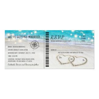 Carte Billet tropical de mariage de coeur de plage avec