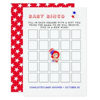 Carte Bingo-test américain de baby shower d'Oncle Sam