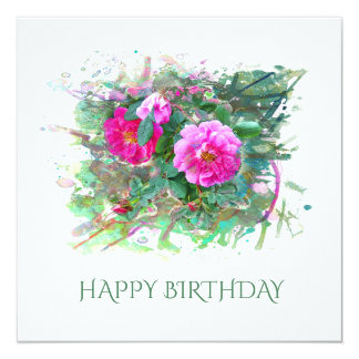 Carte Birthday contents, anniversaire. Roses, Watercolor
