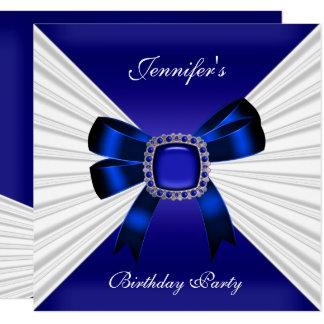 Carte Blanc élégant de bijou de bleu royal d'invitation