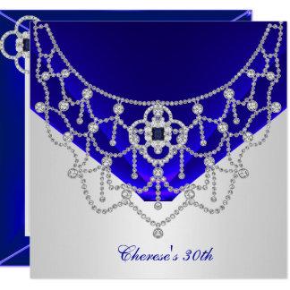 Carte Blanc riche d'argent de bleu royal de 30ème