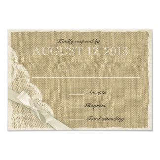 Carte blanche antique de réponse de pays de carton d'invitation 8,89 cm x 12,70 cm