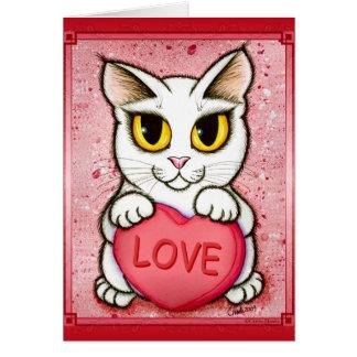 Carte blanche d'art d'amour de coeur de sucrerie