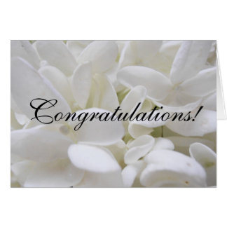 "Carte blanche de ""félicitations"" d'hortensia"