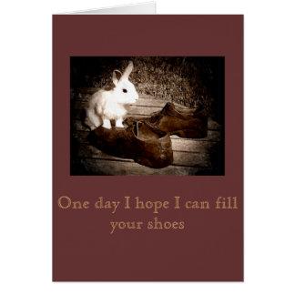 Carte blanche de fête des pères de lapin et de