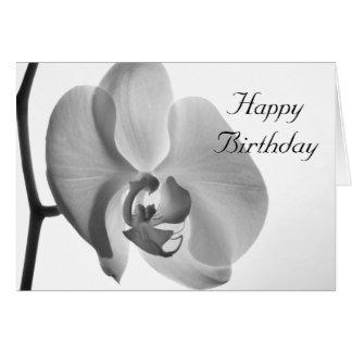Carte blanche de joyeux anniversaire d'orchidée