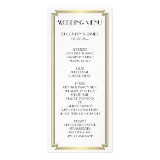 Carte blanche de menu de mariage de grand de