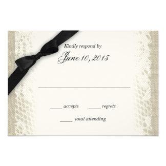 Carte blanche de réponse d arc de noir de toile de cartons d'invitation