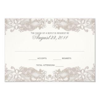 Carte blanche de réponse de dentelle florale carton d'invitation 8,89 cm x 12,70 cm