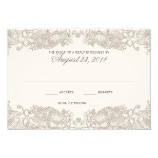 Carte blanche de réponse de dentelle florale victo invitations