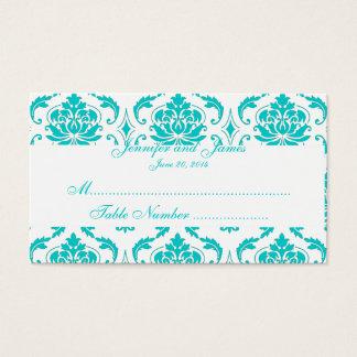 Carte blanche d'endroit de mariage damassé d'Aqua
