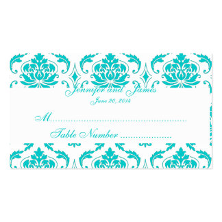 Carte blanche d'endroit de mariage damassé d'Aqua Cartes De Visite Personnelles