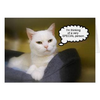 Carte blanche d'humour d'anniversaire de chat de s