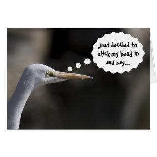Carte blanche drôle d'oiseau de grue de joyeux