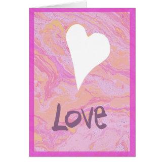 Carte blanche du jour de valentine marbré par rose