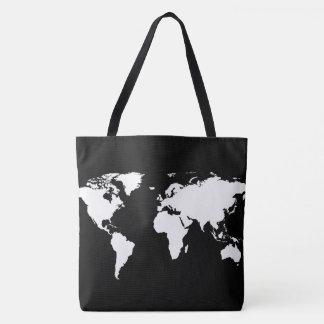 carte blanche du monde sur le noir tote bag