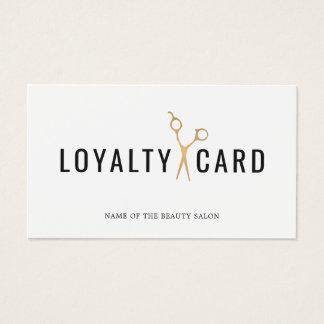Carte blanche élégante de fidélité de ciseaux d'or