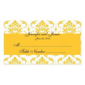 Carte blanche jaune d'endroit de mariage damassé cartes de visite professionnelles