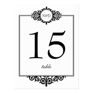 Carte blanche noire de nombre de table de mariage  cartes postales