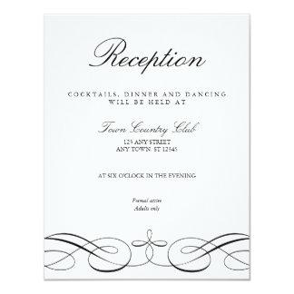 Carte blanche noire élégante de réception de