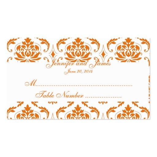 Carte blanche orange d'endroit de mariage damassé cartes de visite professionnelles